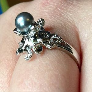 Jewelry - Cthulhu Octopus Black Pearl + Sterling Silver ring